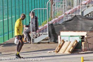 Sport - Calcio - Viterbese - L'allenamento di oggi - Tounkara abbandona il campo