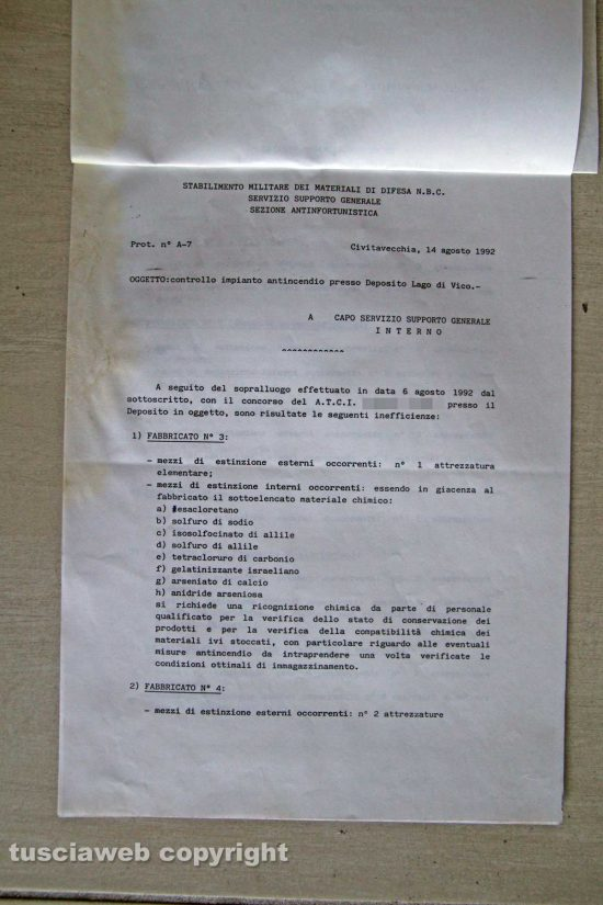 Ronciglione - Chemical city - Il documento del 14 agosto 1992
