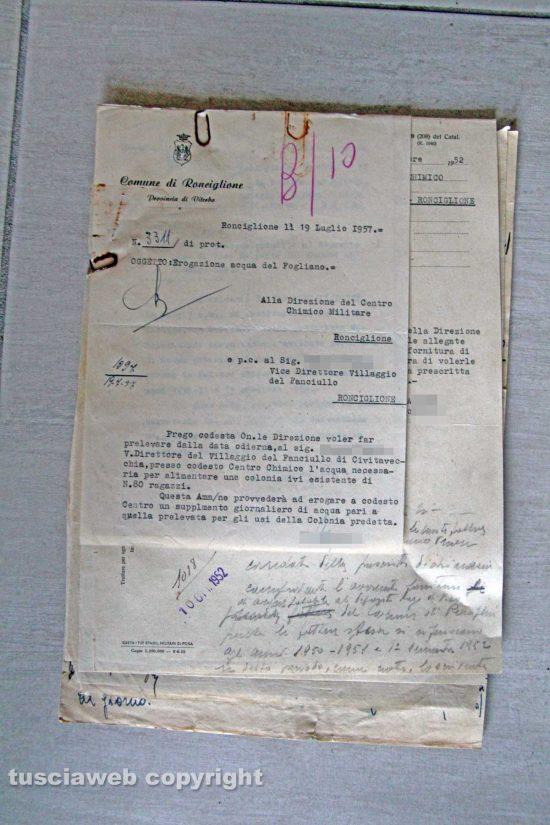 Ronciglione - Chemical city - La richiesta d'acqua per il Villaggio dei fanciulli nel 1957