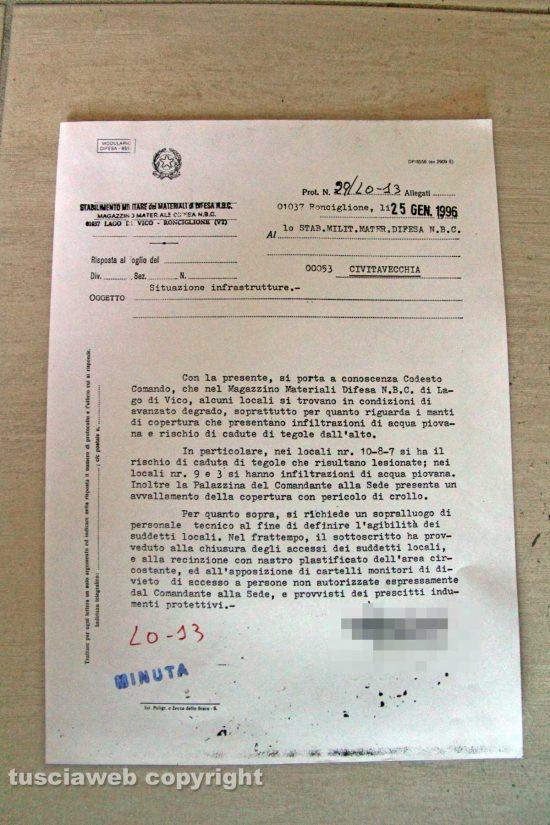 Ronciglione - Chemical city - Il documento del 25 gennaio 1996