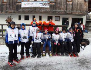 Carnia - La squadra di corsa con le racchette da neve con il tecnico Anna Lupino