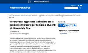 Roma - Coronavirus, l'aggiornamento della circolare per le scuole