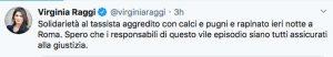 Roma - Il Tweet di Virginia raggi in merito dell'aggressione del tassista a Montespaccato