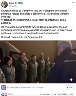 Il post di Luigi Di Maio su Facebook che annuncia la partenza del volo per raggiungere gli italiani sulla Diamond Princess