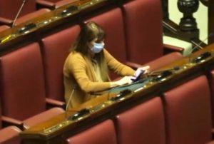 Roma - Maria Teresa Baldini (Fdi) in aula alla Camera con la mascherina
