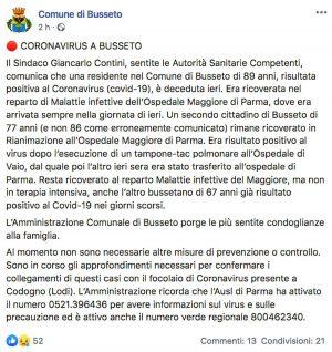 Busseto - La comunicazione, sulla pagina Facebook del comune, della morte di una donna contagiata da coronavirus