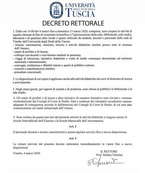 Coronavirus - Il decreto del rettore dell'Unitus Stefano Ubertini