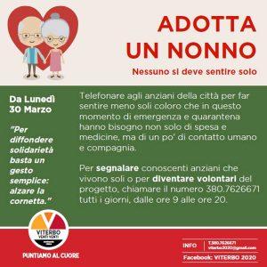 Viterbo - L'iniziativa di Viterbo 2020 'Adotta un nonno'