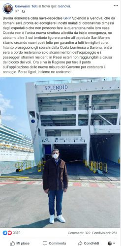 Emergenza coronavirus, Il post in cui Giovanni Toti spiega che è stata allestita una nave per la quarantena