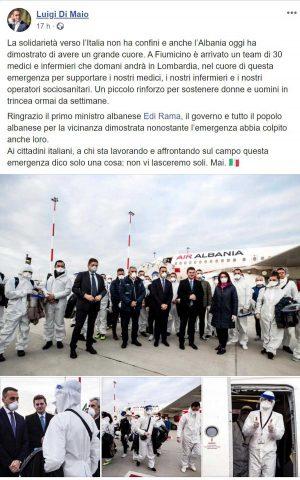 Il post di Luigi Di Maio che annuncia l'arrivo dei medici albanesi per l'emergenza coronavirus