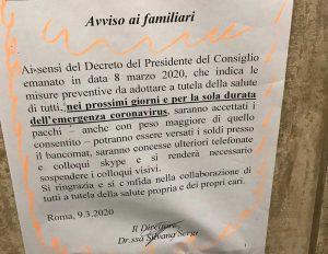 RRegina Coeli - Restrizioni anti coronavirus nel carcere dove è detenuto Andrea Landolfi
