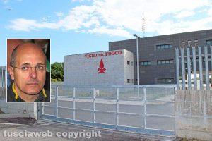 Viterbo - La caserma dei vigili del fuoco - Nel riquadro: Il comandante Davide Pozzi