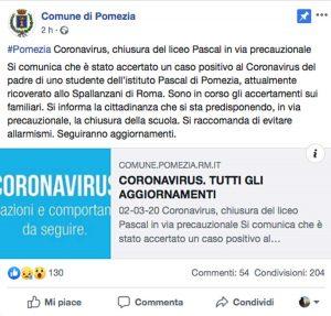 Pomezia - La comunicazione del comune di Pomezia sulla chiusura del liceo Pascal