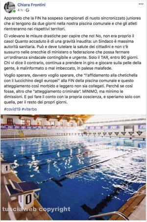 Campionati di nuoto sospeso - Il pesantissimo post di Chiara Frontini