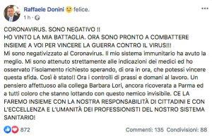 Il post di Raffaele Donini, assessore dell'Emilia Romagna,  che annuncia la sua guarigione dal coronavirus