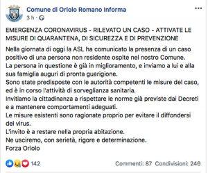 Coronavirus - Un caso positivo a Oriolo Romano - L'annuncio del comune