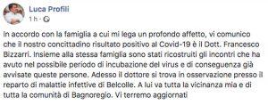 Coronavirus a Bagnoregio - Il post del sindaco Luca Profili