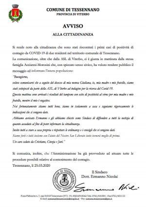 Coronavirus - Il messaggio della famiglia Acciaresi-Morosini di Tessennano
