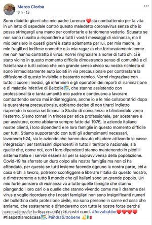 Il post di Marco Ciorba sul padre Lorenzo