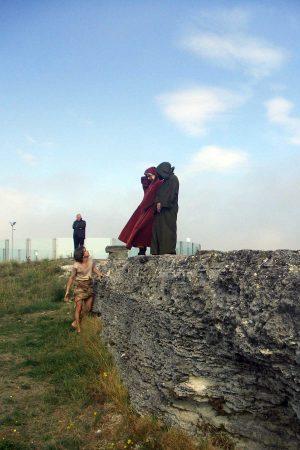 Dante, Virgilio e Brunetto Latini lungo il Flegetonte