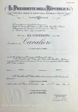 Viterbo - L'attestato con cui Ferruccio Giurini è stato nominato Cavaliere