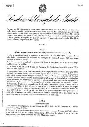 Coronavirus - Il testo integrale del dpcm- 9 marzo 2020