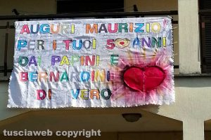 Corchiano - Lo striscione per Maurizio Fioretto