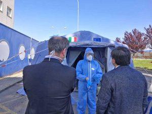 Roma - L'assessore Alessio D'Amato in visita al Covid Center del San Filippo Neri