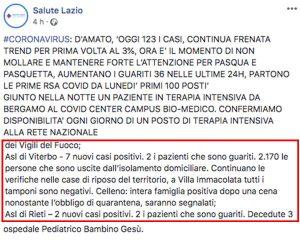 """Coronavirus - Il comunicato della Regione Lazio su Celleno pubblicato sulla pagina Facebook """"Salute Lazio"""""""