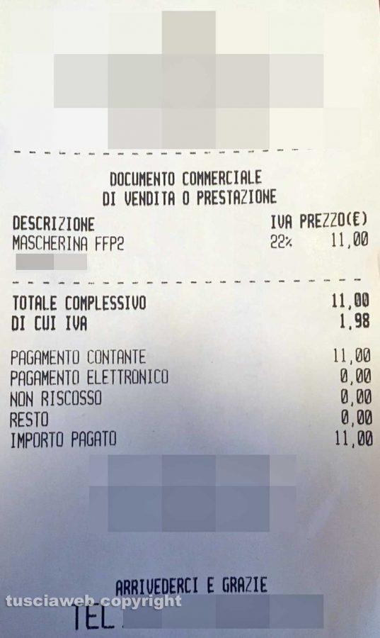 Vetralla - Unidici euro per una mascherina