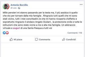 Il post su Facebook di Antonio Borzillo