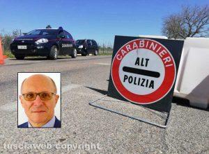 Celleno zona rossa - Un posto di blocco e nel riquadro il sindaco Marco Bianchi
