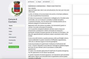 Il post su Facebook del comune di Corchiano