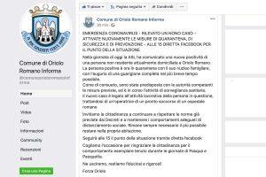 Il post su Facebook del comune di Oriolo Romano