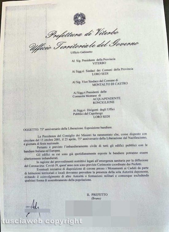 Viterbo - La lettera della prefettura