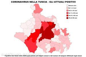 Coronavirus nella Tuscia - La mappa degli attuali positivi - Dati aggiornati al 30 aprile