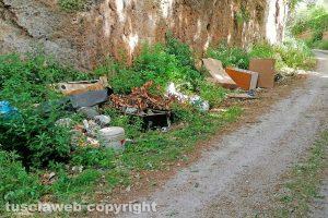 Viterbo - Rifiuti lungo strada Riello