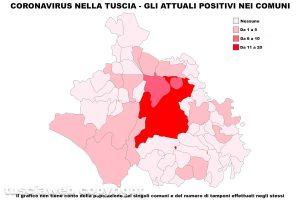 Coronavirus nella Tuscia - La mappa degli attuali positivi - Dati aggiornati al 25 maggio