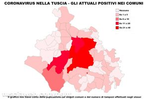 Coronavirus nella Tuscia - La mappa degli attuali positivi - Dati aggiornati all'8 maggio