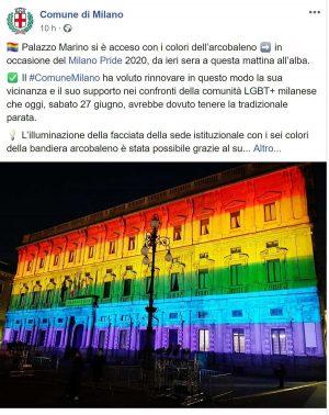 Il post della pagina Facebook del comune di Milano sull'illuminazione di palazzo Marino