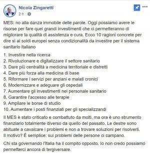 Il post di Nicola Zingaretti in cui spiega il suo punto di vista sul Mes