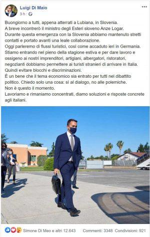 Il post di Luigi Di Maio sull'incontro con il ministro degli Esteri sloveno Anze Logar