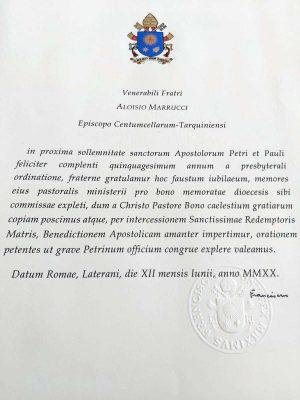 La lettera di papa Francesco al vescovo Luigi Marrucci