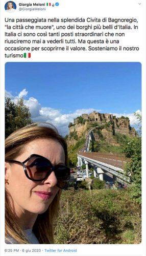 Il tweet di Giorgia Meloni a Civita di Bagnoregio