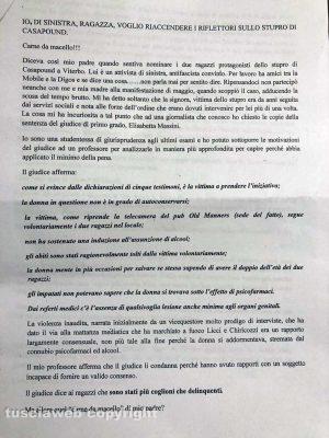 Stupro nel pub di CasaPound - Lettera anonima