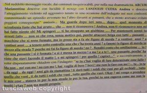 Il testo del vocale di Sestina Arcuri a Andrea Landolfi del 15 dicembre 2018