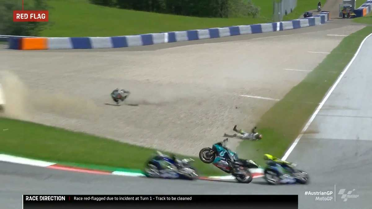 MotoGP, incidente pauroso Zarco-Morbidelli, Valentino Rossi sfiorato