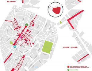 Una mappa di Bruxelles in cui si alternano vie con obbligo di mascherina all'aperto e vie senza