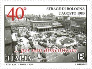 Francobollo di Poste italiane per i 40 anni dalla strage di Bologna