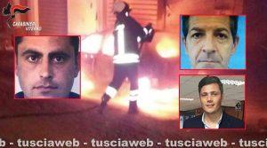 Mafia viterbese - Un attentato incendiario (nei riquadri, da sinistra in senso orario, Ionel Pavel, Emanuele Erasmi e Manuel Pecci)